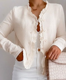Lacey Button Ribbed Cardigan