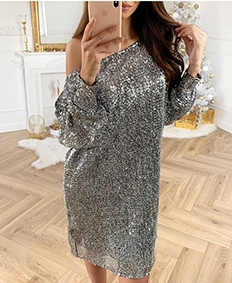 Eyelet Sequin Tunic Dress