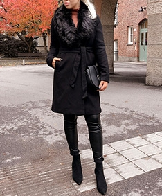 Removable Faux Fur Belted Wool Coat